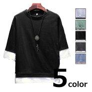 シャツTシャツメンズ春夏フェイクレイヤードスマイルマーク半袖全5色M-5XL