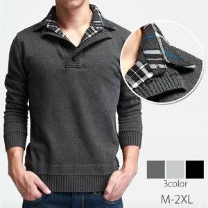 メンズ セーター 重ね着風セーター シャツ 襟 チェック柄 スタンドカラーカジュアル トップス メンズファッション【Y's factory】