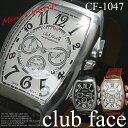 ケース付 送料無料 2000円→値下げ ビザン数字革バンド メンズ腕時計 CF-1047