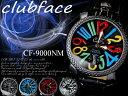 【ケース付♪送料無料】革バンド メンズウォッチ チェッカーフレームタイプ ビッグフェイス◇-clubface- メンズ腕時計 CF-9000NM