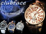 (ケース付き 送料無料)革バンド メンズウォッチ プレーンタイプ ビッグフェイス メンズ腕時計 CF-9000SMP