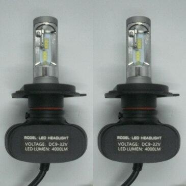MAZDA ファミリア H6.6〜H10.5 BH系 ファンレス コントローラー一体型 LEDヘッドライト H4 Hi/Lo 6500K 4000LM 高輝度 車検適合 一年保証!2灯