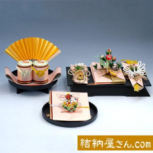 結納 -九州式結納品-孔雀黒塗台セット(毛せん付)