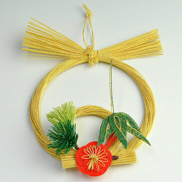 正月飾り・水引飾り ゴールド 松竹梅 中 【お正月 リース 迎春 玄関】