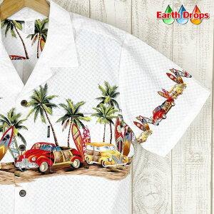 アロハシャツ メンズ PalmHawaiiホワイト地/クラシックカー・ロングボード柄メンズ総柄半袖シャツ/白カーショップの制服にもハワイアンシャツ 大きいサイズ有/クールビズ【基本メール便発送】(代引除く)