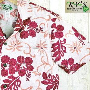 アロハシャツ ハワイ製 メンズ【KY'S】テンダーピンク/ディープレッドハイビスカスコットン100%赤・桃色/葉・花柄【絶版柄】【基本メール便発送】(代引除く)【父の日】【クーポン有】