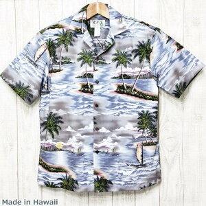 アロハシャツ ハワイ製 メンズアクアグレイ/ビンテージスタイル・コットン生地大きいサイズ有・KY'S社製 開襟ギフト・プレゼントにも【基本メール便発送】(代引除く)【父の日】【クーポン有】