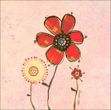グリーティングカード【誕生日/バースデー】「花」【封筒/165×165mm】【封筒の色/白】【中面「happy birthday」】【箔押し加工あり】