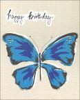 グリーティングカード【誕生日/バースデー】「青い蝶」【封筒/145×175mm】【封筒の色/白】【中面/無地】【ラインストーン付き】