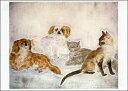 ポストカード 【アート】 藤田嗣治「犬と猫」【148×105mm】(VD8406)