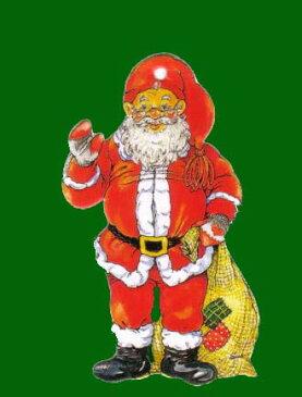 ミニオーナメントカード 【クリスマス】 サンタクロース【封筒付き/緑】【封筒サイズ/80×100mm】【紐付き/金】【裏面/罫線あり】(XMC-1)