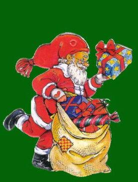 ミニオーナメントカード 【クリスマス】 サンタクロース【封筒付き/緑】【封筒サイズ/80×100mm】【紐付き/金】【裏面/罫線あり】(XMC-5)