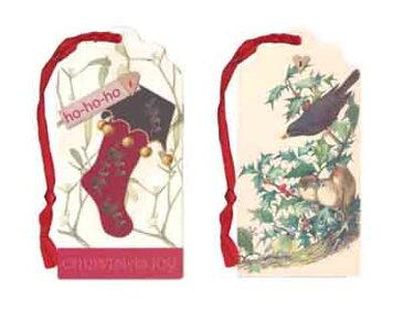 ダイカットギフトタグ 【クリスマス】靴下/鳥【二枚セット】【裏面/「TO」「FROM」の文字あり】【しおりやオーナメントにも使えます】(XGT-403)