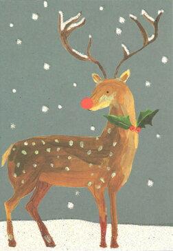 ミニグリーティングカード 【クリスマス】「赤鼻のトナカイ」(PQX133)【クリスマスカード/かわいい/おしゃれ/キラキラ/ラメ/トナカイ/木の実/小さめ/ミニカード】
