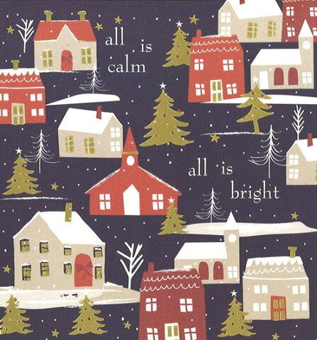 グリーティングカード 【クリスマス】クリスマスの街並み【封筒付き/白】【封筒サイズ/153×145mm】(PNT507)【メリークリスマス/家/夜の街並み/イラスト/シーズン/イギリス/雑貨】
