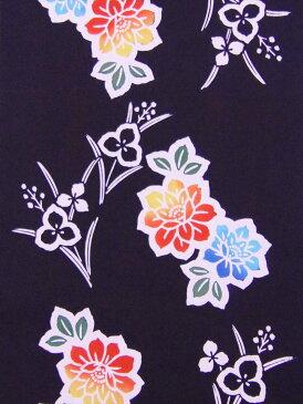 女児浴衣反物(5.7m)濃紺地・牡丹柄 No.812