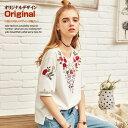 オリジナルデザイン 新作 大人可愛い 白 赤 ホワイト 花柄 本格的な刺繍 サイドのスリット ラウンドネック 5分袖 チュニックTシャツ