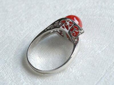 プラチナ900ダイヤ2石入り血赤珊瑚8mm珠リング