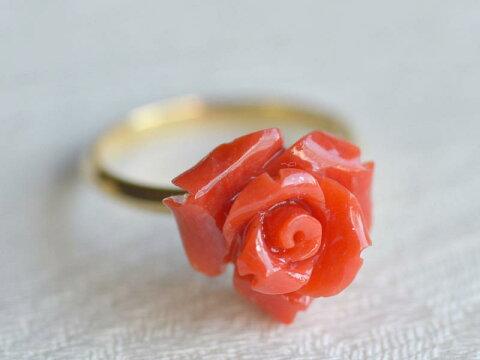 一点のみ!K18 胡渡りサンゴ バラ 手彫り リング