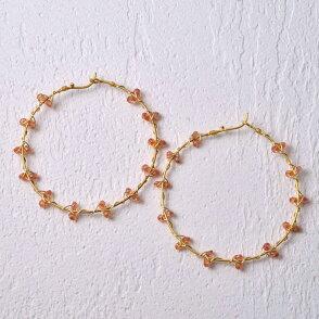 ピアスフープオレンジサファイアサファイヤ14金K14ビッグ9月誕生石天然石ユキコオオクラブランドおしゃれジュエリーアクセサリー送料無料女性ギフトプレゼントにも