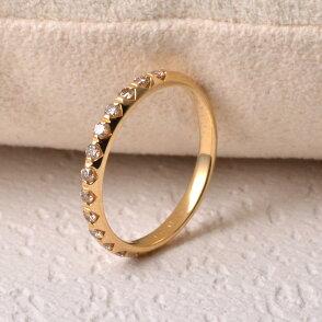 リング指輪ダイヤダイヤモンドK1818金ゴールドブラウンハーフエタニティゴージャスシンプル天然石ユキコオオクラブランドおしゃれジュエリーアクセサリー送料無料女性4月誕生石ギフトプレゼントにも