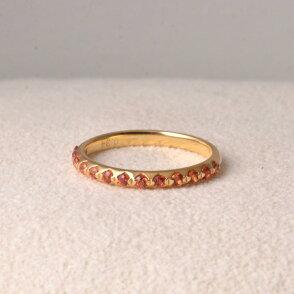 リング指輪サファイアサファイヤK1818金ゴールドオレンジハーフエタニティゴージャスシンプル天然石ユキコオオクラブランドおしゃれジュエリーアクセサリー送料無料女性9月誕生石ギフトプレゼントにも