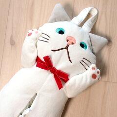ネコポス×不可 ユニークな吊り下げ型 白猫ターチャン ぬいぐるみ型ティッシュボックスカバ...