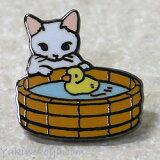 猫ピンズ アヒル 白猫★ポタリングキャット(ピンバッチ 猫雑貨 ネコグッズ ねこ キャット)