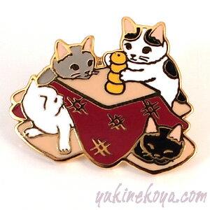 猫ピンズ こたつ★ポタリングキャット 黒猫 白猫 ハチワレ 灰色猫(ピンバッチ 猫雑貨 ネコグッズ ねこ キャット)