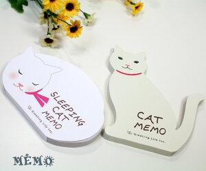 メール便○OK 5つのデザインが楽しめるたっぷり90枚入り猫 ダイカットメモ (猫雑貨 猫グッズ)