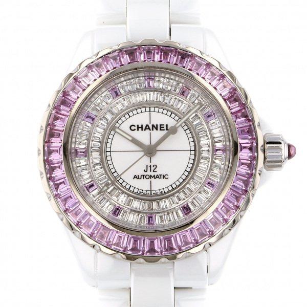 シャネル CHANEL J12 ピンクサファイアベゼル 全面ダイヤ文字盤 中古 腕時計 メンズ