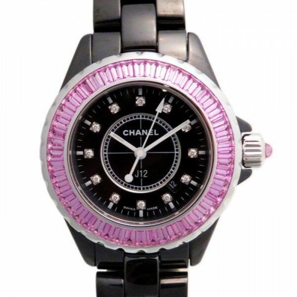 シャネル CHANEL J12 ピンクサファイアバケットベゼル H1673 ブラック文字盤 新古品 腕時計 レディース