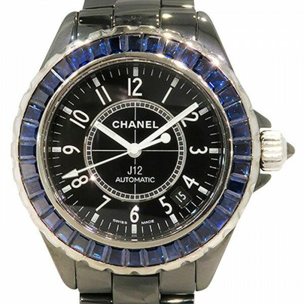 シャネル CHANEL J12 38mm ベゼルバケットサファイア H1693 ブラック文字盤 中古 腕時計 メンズ