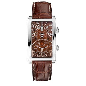 クエルボ・イ・ソブリノス CUERVO Y SOBRINOS プロミネンテ デュアルタイム デイデイト 1124-1ATG タバコカラー文字盤 メンズ 腕時計 【新品】