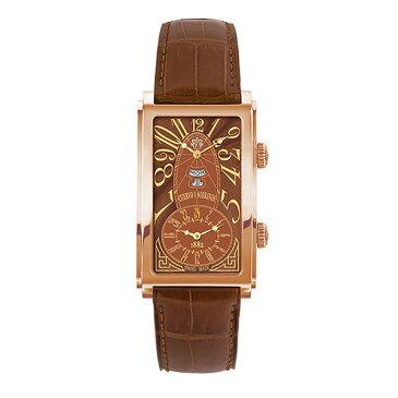 クエルボ・イ・ソブリノス CUERVO Y SOBRINOS プロミネンテ デュアルタイム デイデイト 1124-8ATG タバコカラー文字盤 メンズ 腕時計 【新品】