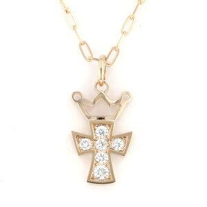 Gaga Milano Necklace/Pendant Yellow Gold Cross Diamond-Ladies Jewelry [New]