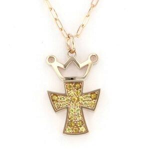 [限定时间点三倍8/2 8/9] Gaga Milano金黄色十字架黄色蓝宝石项链/吊坠K18YG全新
