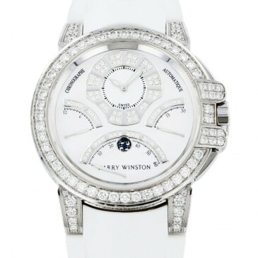 ハリー・ウィンストン HARRY WINSTON オーシャン トリレトロ クロノグラフ ケースダイヤ OCEACT44WW002 ホワイト文字盤 中古 腕時計 メンズ