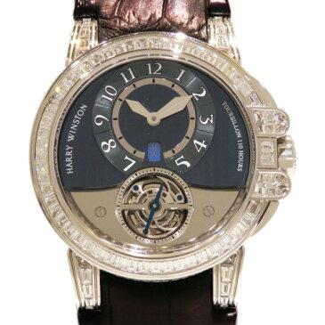 【ポイントバックセール 3%ポイント還元】 ハリー・ウィンストン HARRY WINSTON オーシャン トゥールビヨン ケースダイヤ 世界限定10本 400/MAT44WL グレー文字盤 メンズ 腕時計 【中古】
