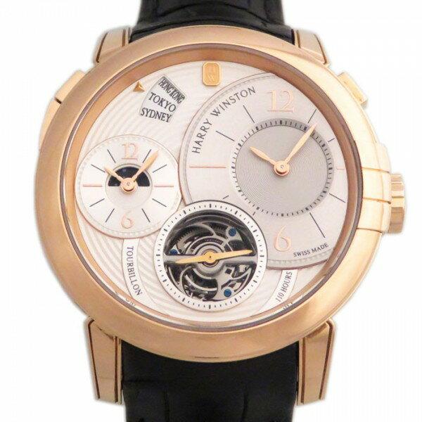 ハリー・ウィンストン HARRY WINSTON ミッドナイト GMT トゥールビヨン MIDATG45RR002 ホワイト文字盤 メンズ 腕時計 【新品】