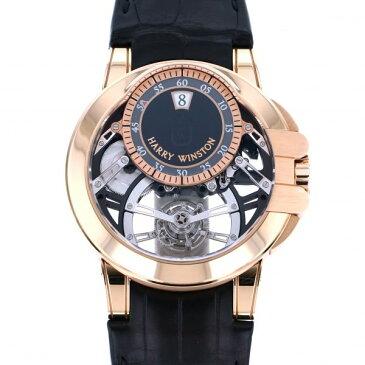 【ポイントバックセール 3%ポイント還元】 ハリー・ウィンストン HARRY WINSTON オーシャン トゥールビヨン ジャンピングアワー 世界限定75本 OCEMTJ45RR001 ブラック文字盤 メンズ 腕時計 【中古】