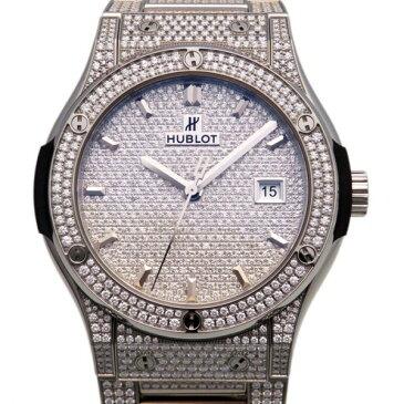 ウブロ HUBLOT クラシックフュージョン チタニウムブレスレット フルパヴェ 542.NX.9010.NX.3704 全面ダイヤモンド文字盤 メンズ 腕時計 【新品】