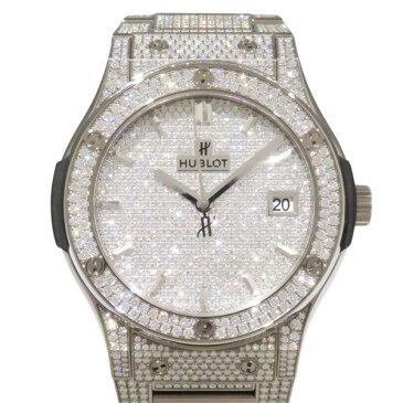 ウブロ HUBLOT クラシックフュージョン チタニウム ブレスレット フルパヴェ 511.NX.9010.NX.3704 全面ダイヤ文字盤 メンズ 腕時計 【新品】