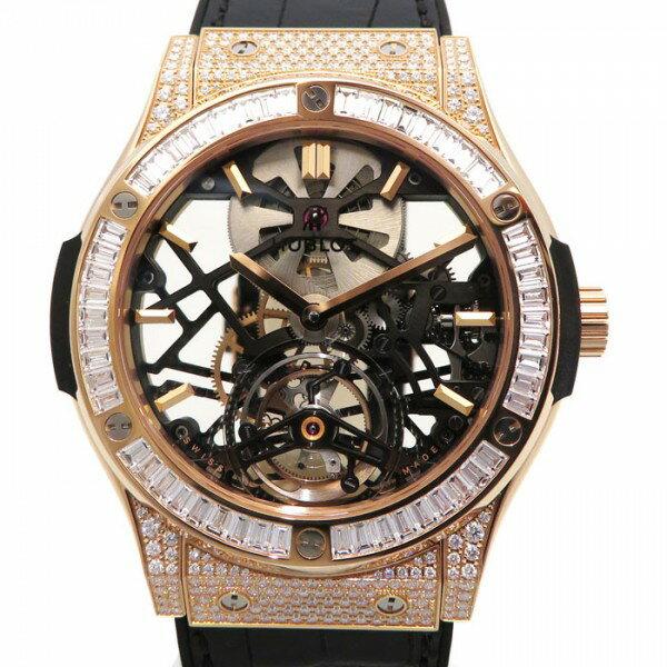 ウブロ HUBLOT クラシックフュージョン クラシコスケルトントゥールビヨン ダイヤモンド 505.OX.0180.LR.0904 グレー文字盤 メンズ 腕時計 【新品】
