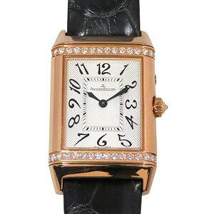 Jaeger-LeCoultre JAEGER LE COULTRE Reverso Duet Duo Bezel Diamond Q2692420 Silver/Black Dial Ladies Wrist Watch [Used]