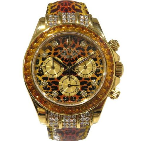 ロレックス ROLEX デイトナ レパード 116598SACO シャンパン文字盤 メンズ 腕時計 【中古】