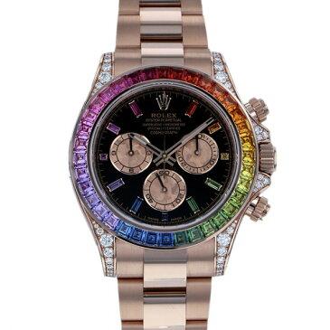 ロレックス ROLEX デイトナ レインボー 116595RBOW ブラック/ピンク文字盤 メンズ 腕時計 【中古】