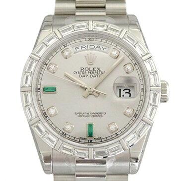 ロレックス ROLEX デイデイト 118366 シルバー(2Pバケットエメラルド)文字盤 メンズ 腕時計 【新品】