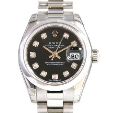 ロレックス ROLEX デイトジャスト 179166G 10Pダイヤ/ブラック文字盤 レディース 腕時計 【新品】