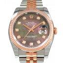 ロレックス ROLEX デイトジャスト 116231NG 10Pダイヤ/ブラックシェル文字盤 メンズ 腕時計 【新品】